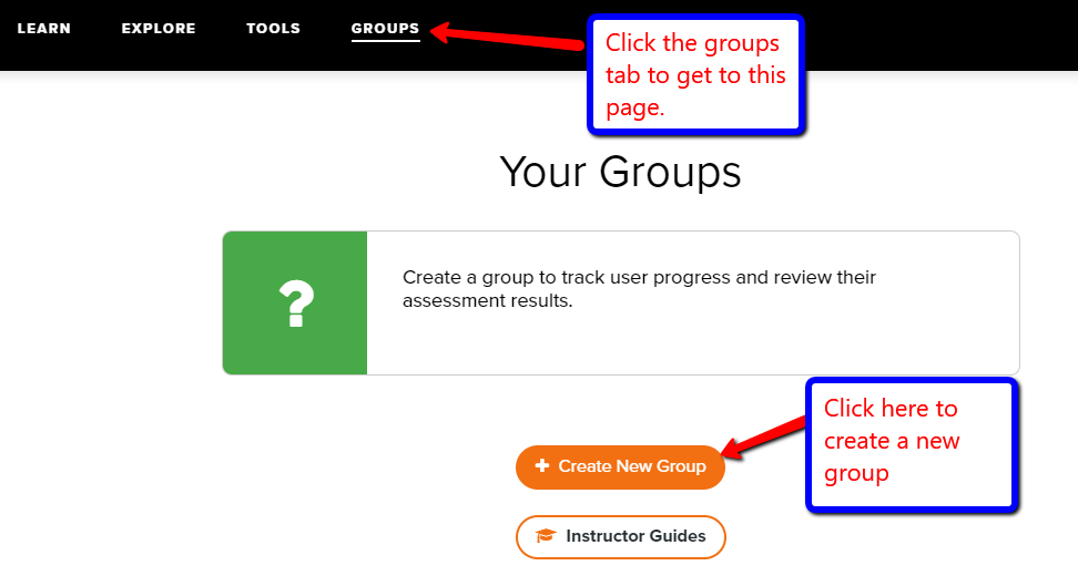 "Screenshot of the Mango Groups page with arrow pointing to groups tab, and another arrow pointing to the ""create a new group"" button."