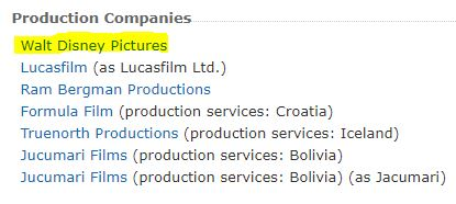 List of production companies associated with Star Wars: The Last Jedi. Walt Disney Pictures is highlighted