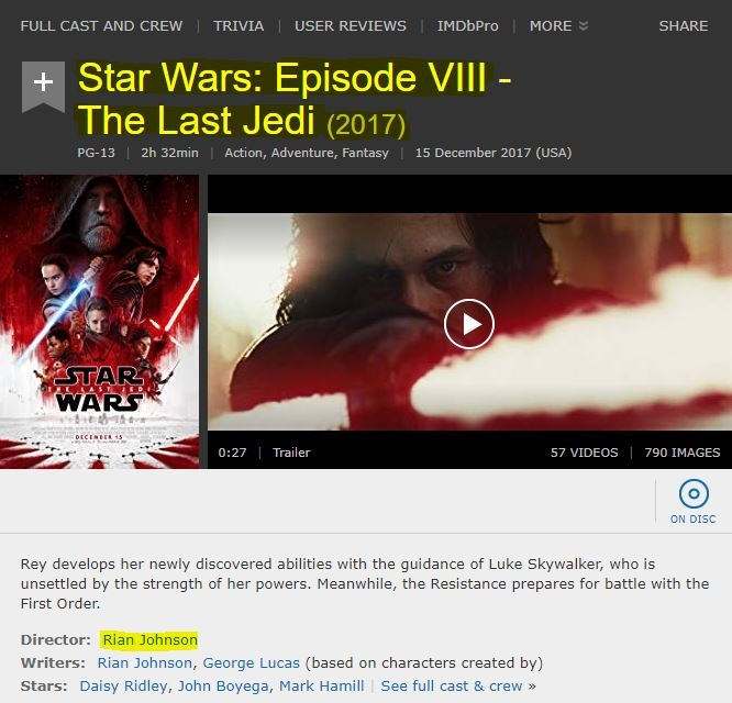 Screen capture of the IMDB page for Star Wars: Episode VIII - The Last Jedi
