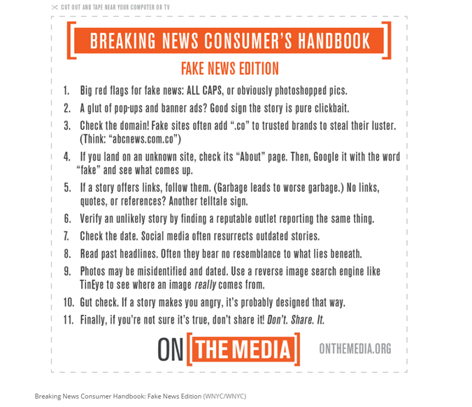 On The Media Breaking News Consumer's Handbook
