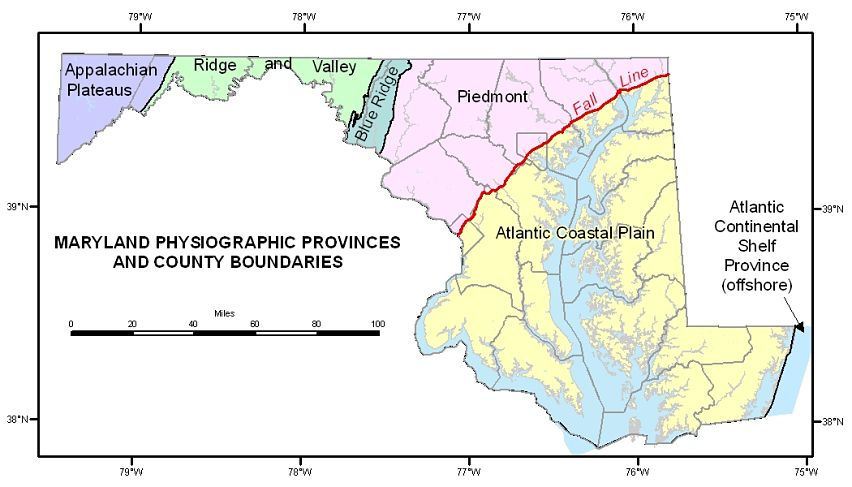 Map of general Maryland geology
