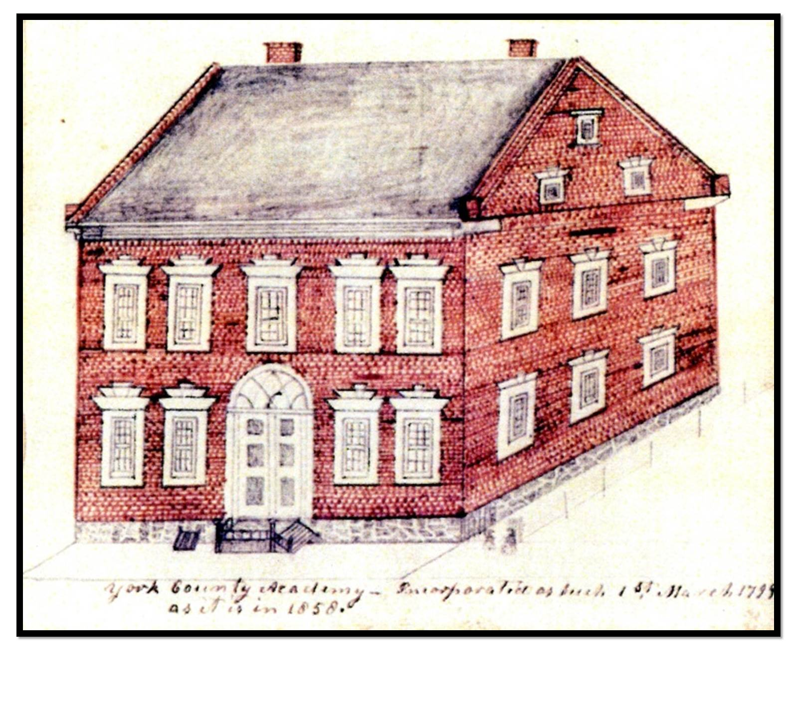 Sketch of original York County Academy