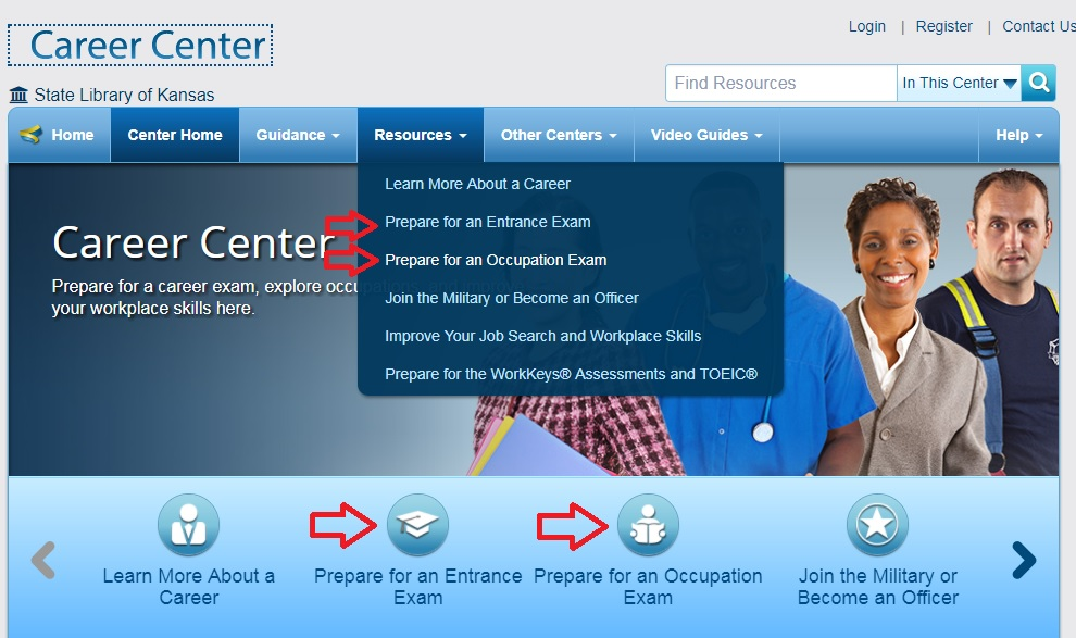 Learning Express Library Career Center portal with directional arrows for entrance exams and professional exams