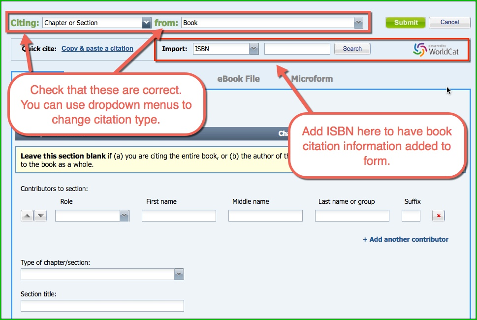 "screen capture of print book web form, added text ""Check that these are correct. You can use dropdown menus to change citations here."" with arrows point to dropdown menus - Citing and From - at top of page. Also, added text, ""Add ISBN here to have book citation information added to form"" with arrow pointing to Import: ISBN field."