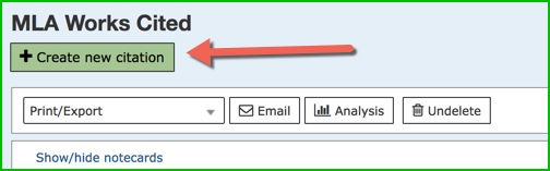 "Image with an arrow pointing at green ""+ create new citation"" button."