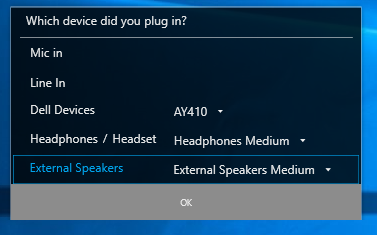 Audio device dialog
