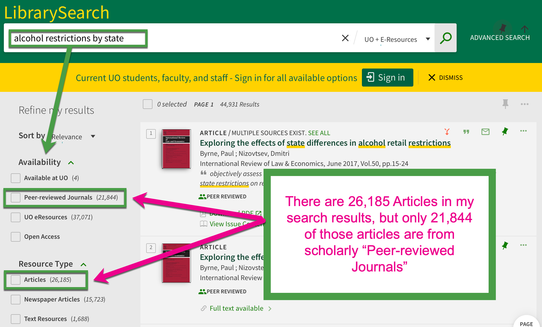 "Screenshot of LibrarySearch search for alcohol restrictions by state. The search is highlighted by a green box with an arrow pointing toward the applied search filters: ""Peer-reviewed Journals"" and ""Articles."" The annotation overload on this screenshot notes ""There are 26,185 articles in my search results, but only 21,844 of those articles are from scholarly ""Peer-Reviewed Journals"""