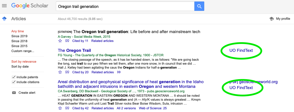 screen shot of Google Scholar search for Oregon Trail generation