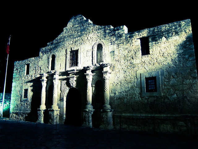 Photograph of The Alamo in San Antonio, Texas at night by Nan Palermo