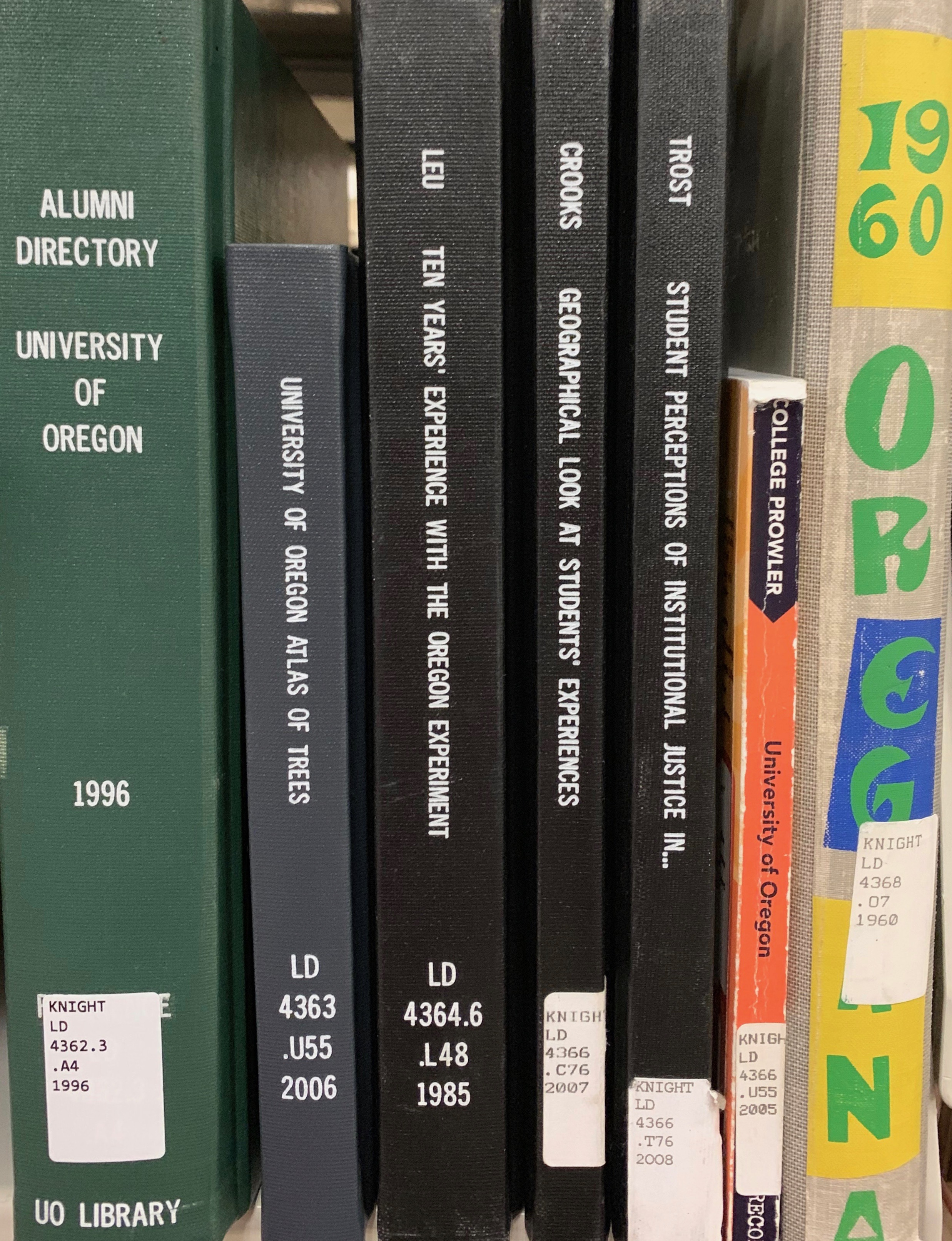 Photo of UO Libraries books on shelf