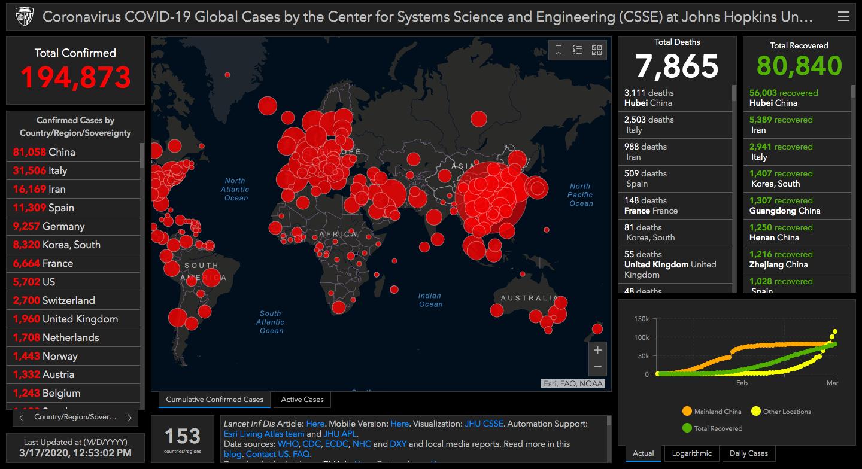Interactive map of Coronavirus cases