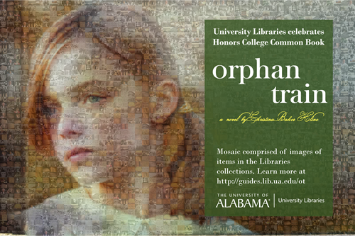 Orphan Train covert artwork stylized as a mosaic comprised of photographs and video stills