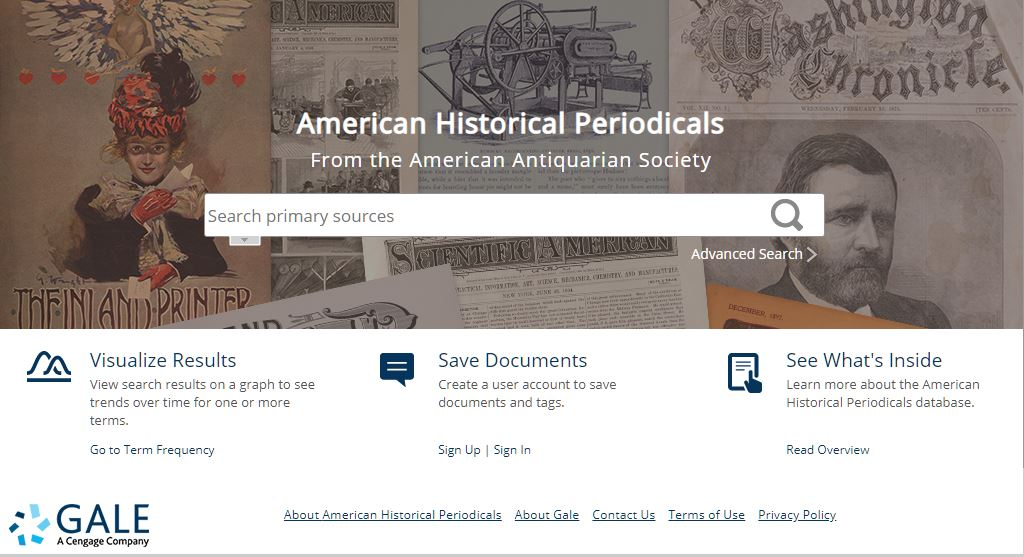 American Historical Periodicals database homepage