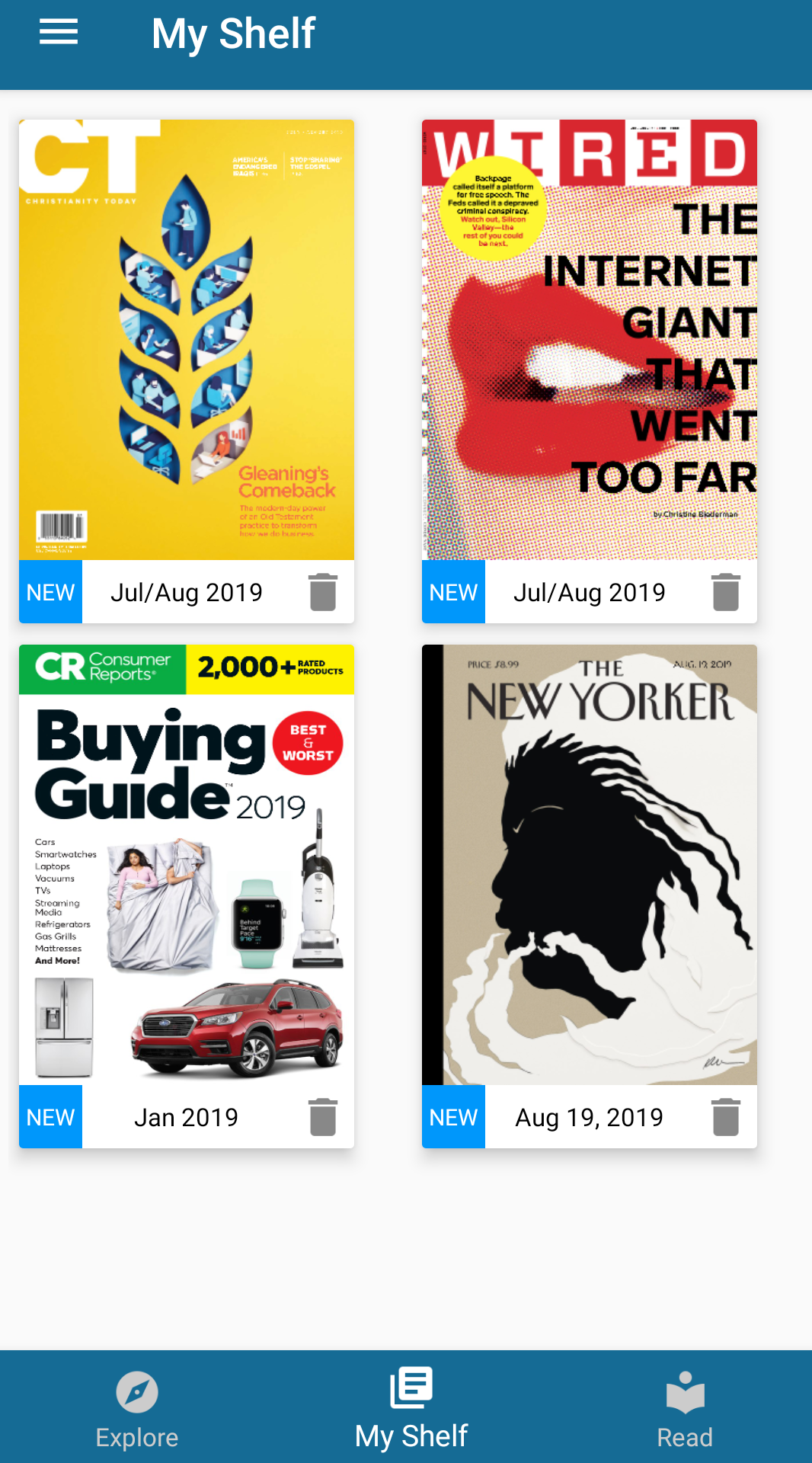 Screenshot of Flipster showing some of our available magazines: CT, Wired, Consumer Reports, and the New Yorker