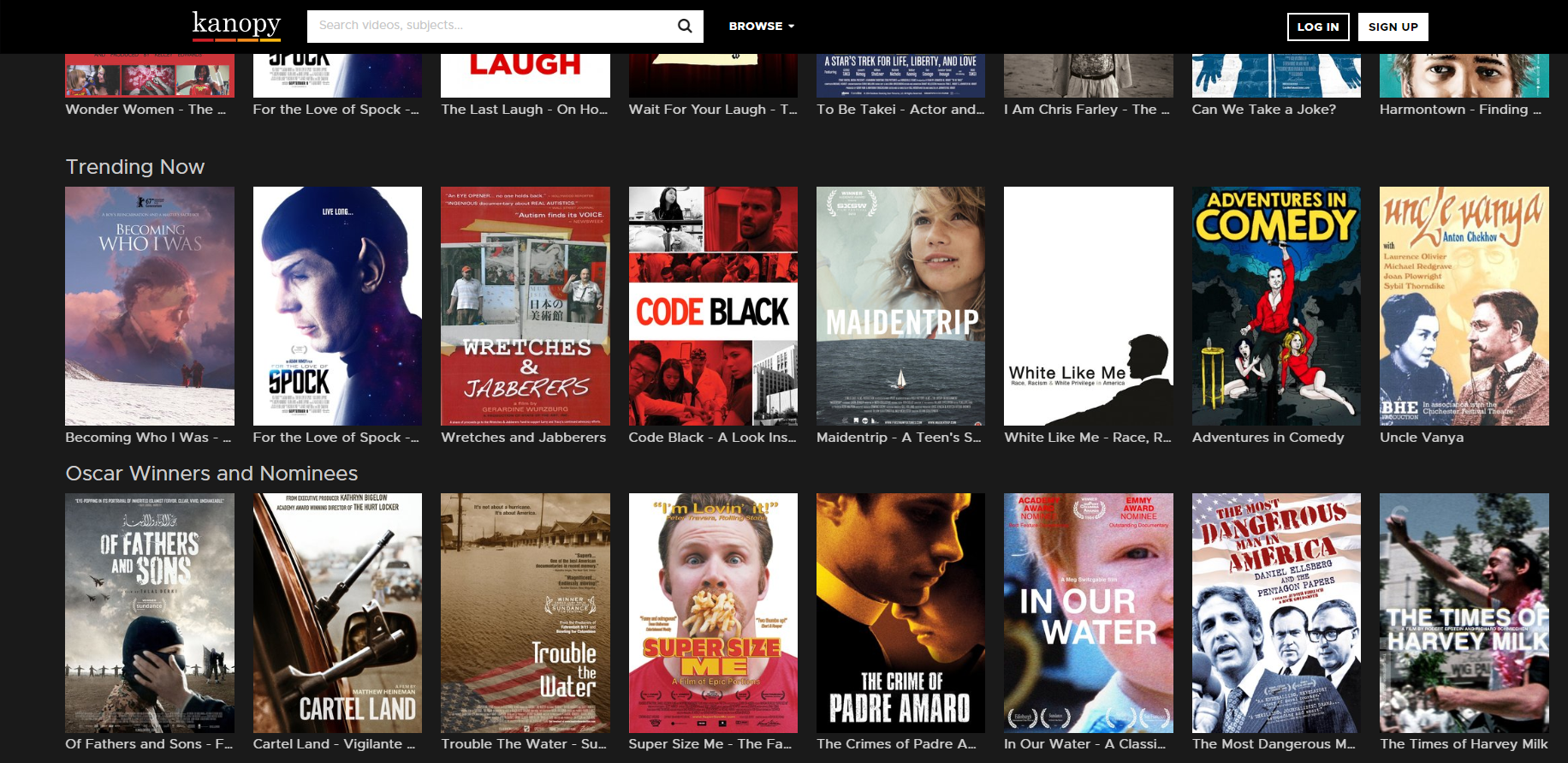 Screenshot of Kanopy movies available