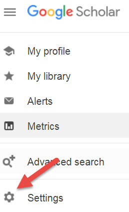 screenshot Google Scholar menu