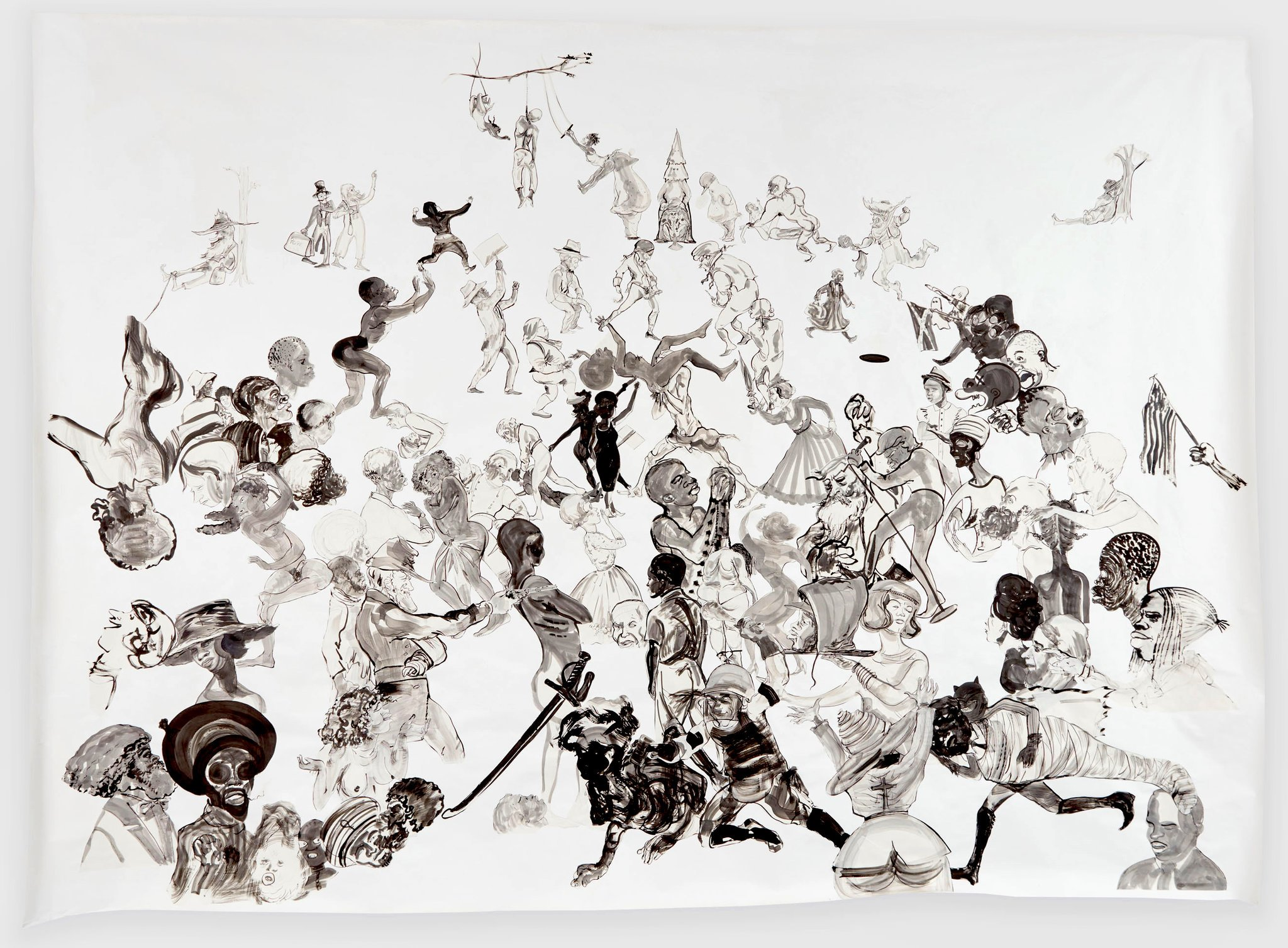 "Kara Walker, ""Christ's Entry into Journalism,"" sumi ink and collage on paper"