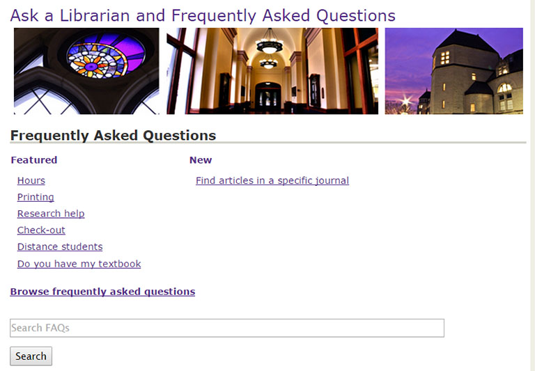 Image showing all of the options for Ask a Librarian Service