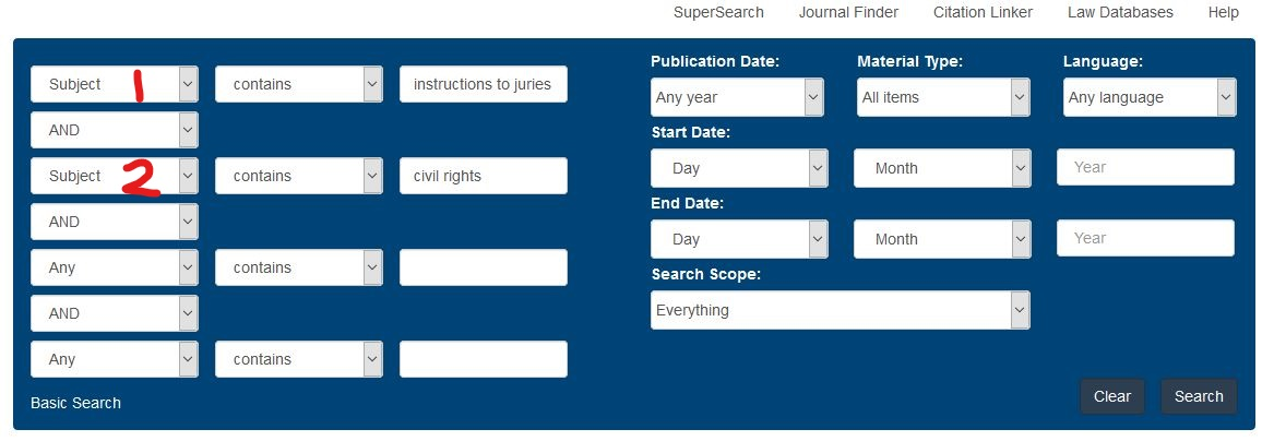Advanced SuperSearch screen