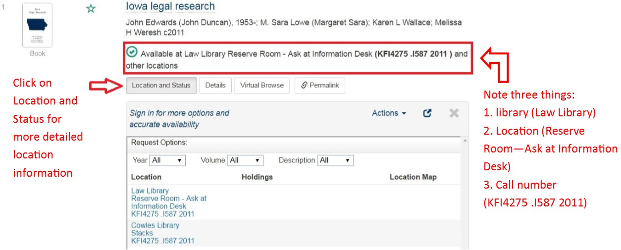 Screenshot from the Drake Libraries Catalog