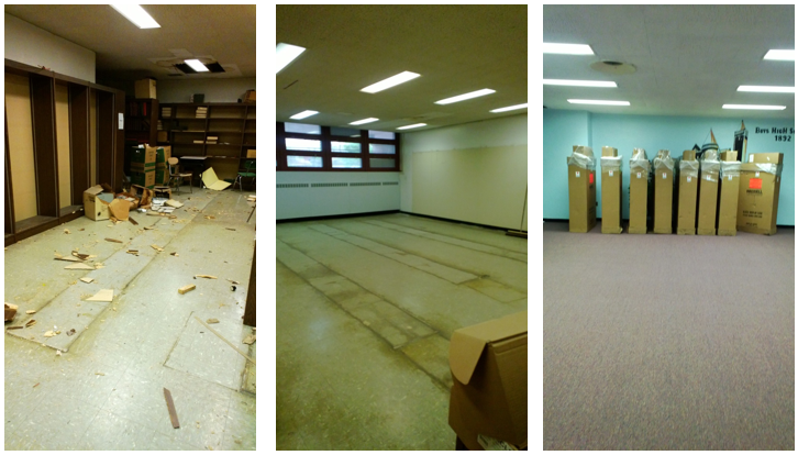 3 photos of school libraries in states of demolition.