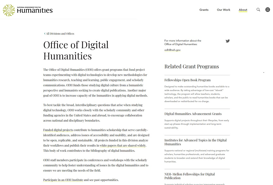 National Endowment For the Humanites website
