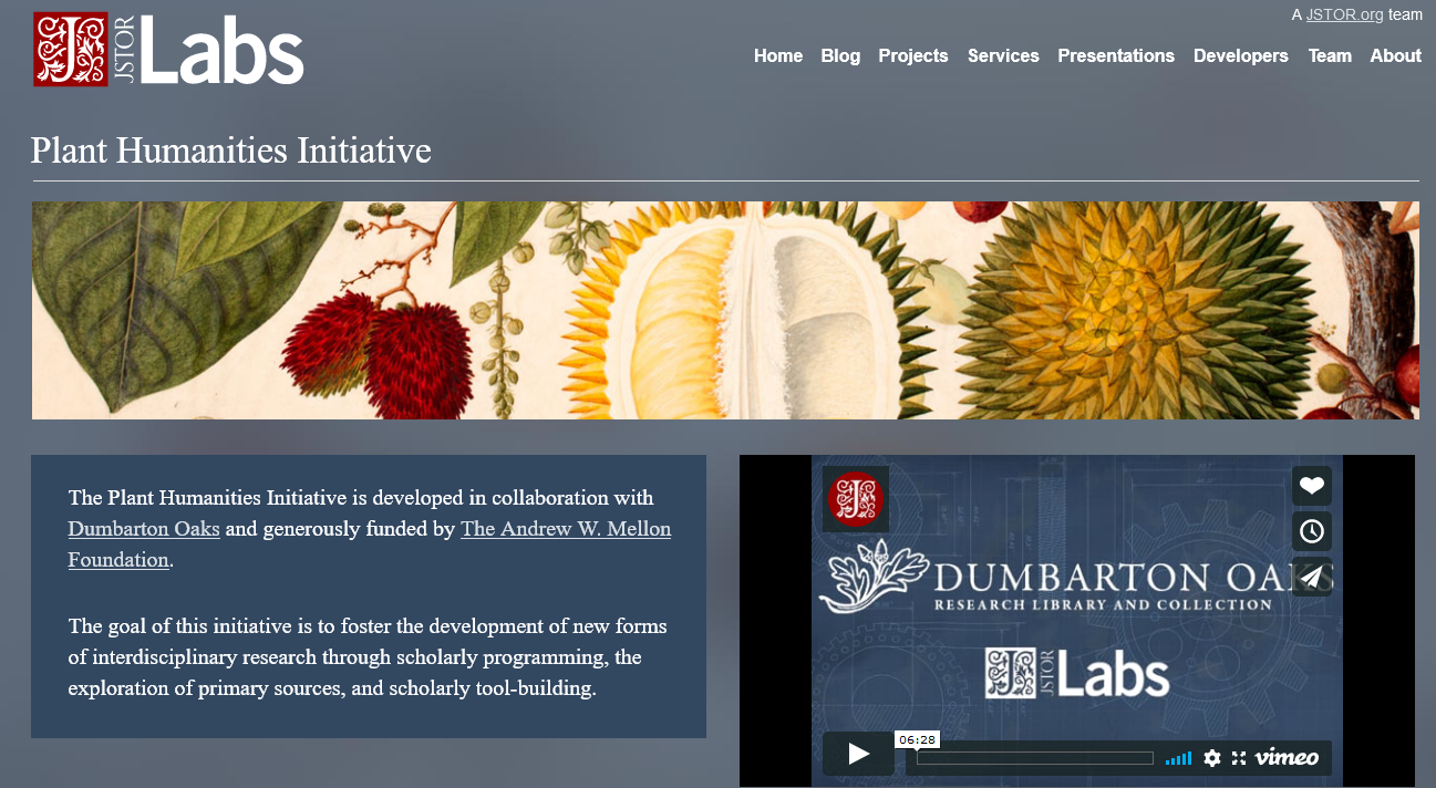 Image of Jstor labs Plant Humanities website.