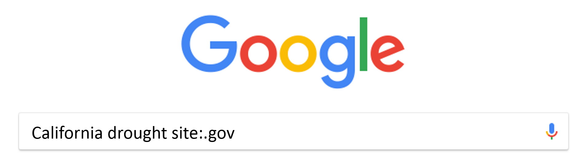 Google search using site:.gov to narrow searches to .gov websites.