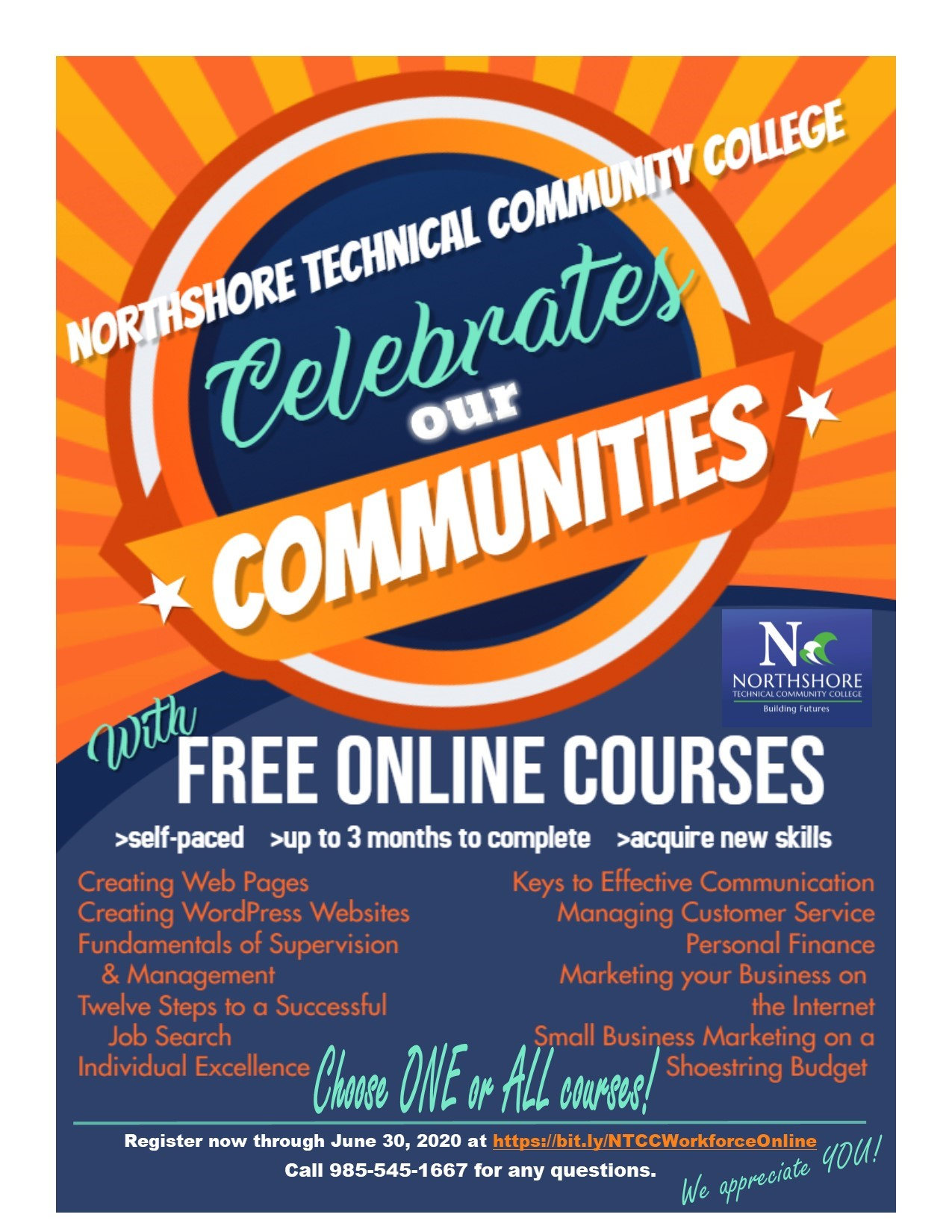 Sign up for up to 10 free online courses by June 30th! Complete at your own pace within 3 months