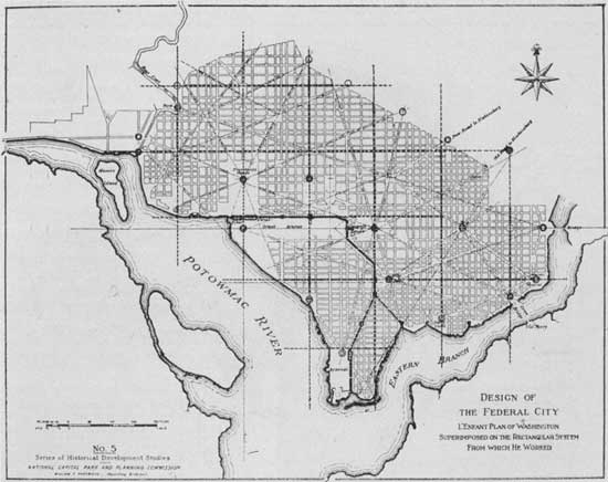 An early map of the L'Enfant plan for Washington D.C.