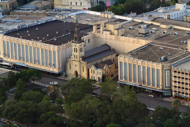 photograph of St. Joseph Catholic Church surrounded by Rivercenter Mail, San Antonio, TX