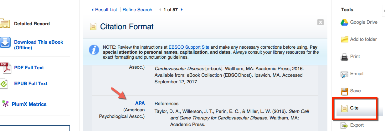 image from Discover showing the Cite feature on a book record