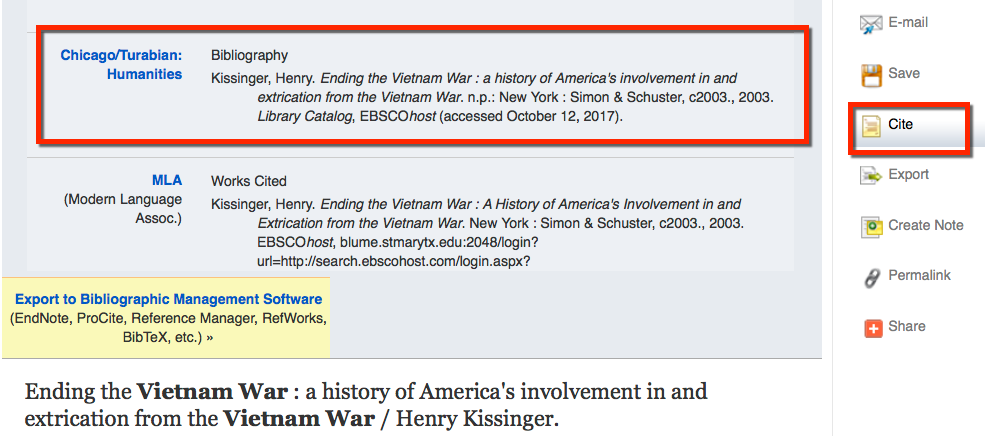 image example of the Cite feature in Discover to copy and paste citations