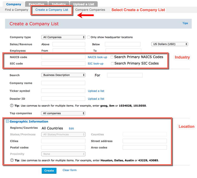 Image: create a company list form in the Company Dossier in Nexis Uni