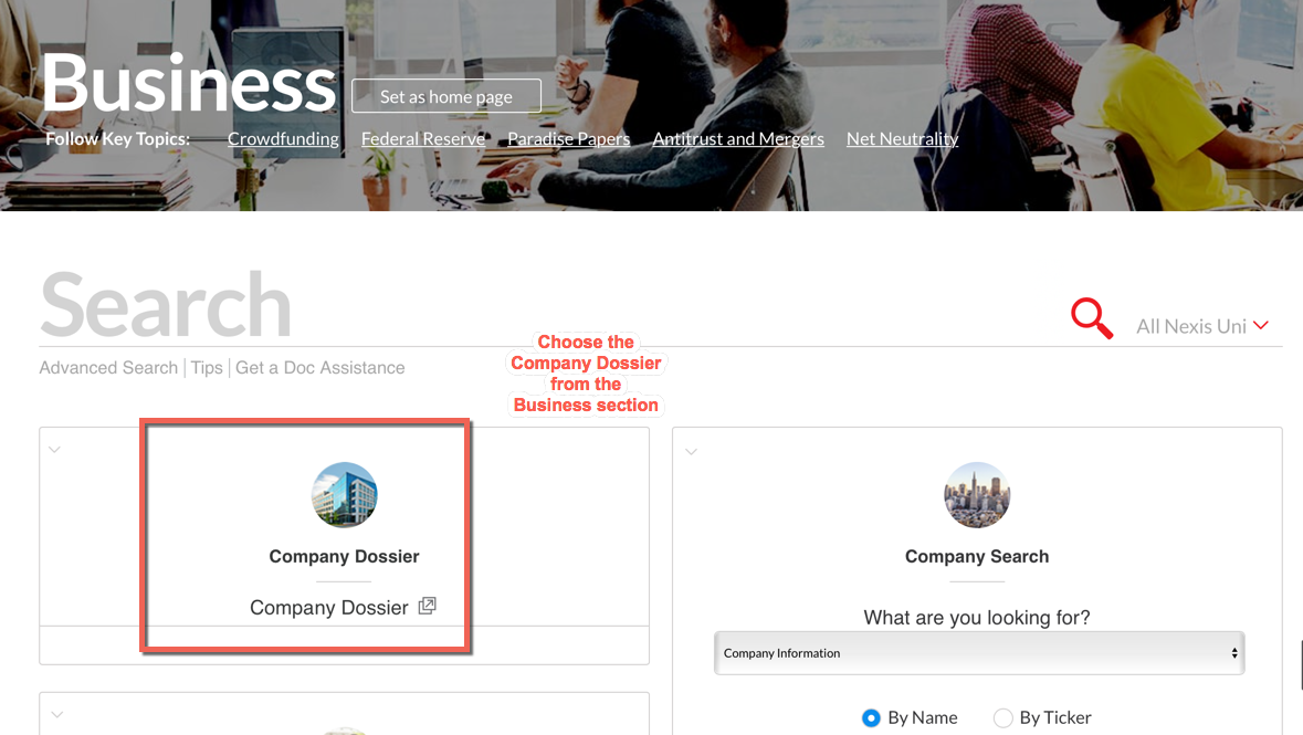 image: Find the Company Dossier tool under Business category in Nexis Uni