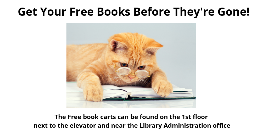 Free books are available on the carts located to the left and the right of the Library Rotunda.