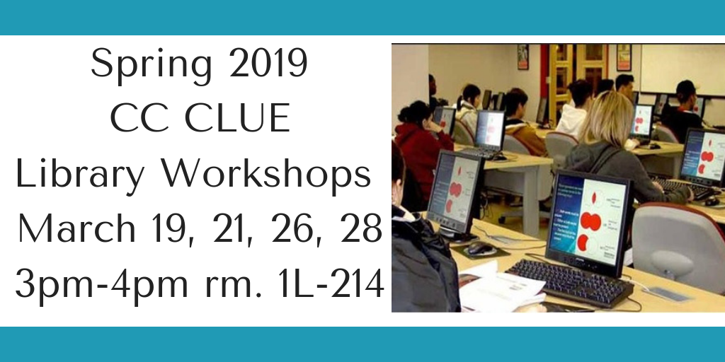 Spring 2019 In-Person Library Workshops (click for more info)