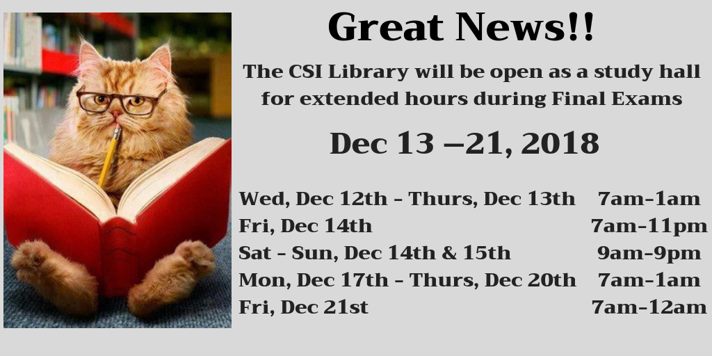 Extended hours for final exam hours: click for info