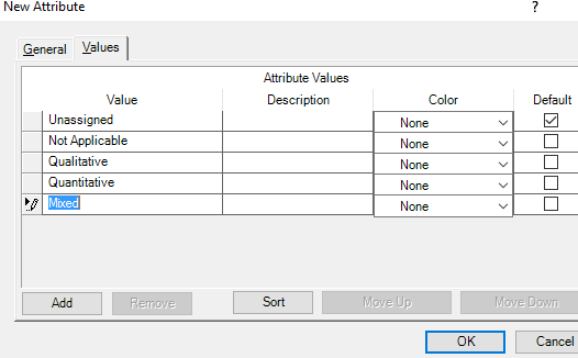 The values tab will open as a table, where you can make selections and input data
