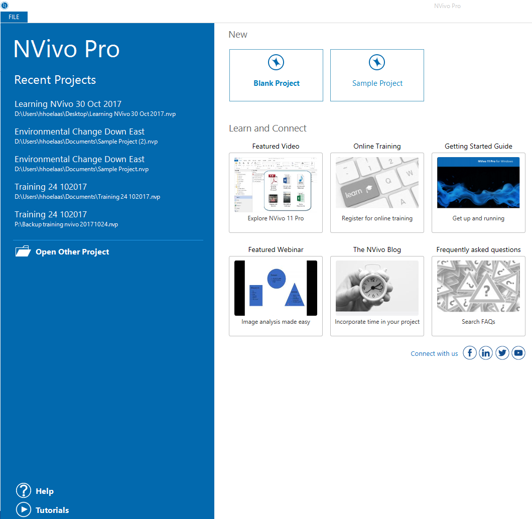 The NVivo start screen allows you to open recent projects, make a new project, and offers videos, training and a guide on getting started.