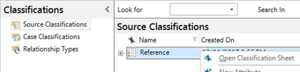 Then click on Source Classifications and right click on Reference to open the Classification Sheet