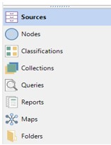 You can also select Sources, Nodes, Classifications, Queries, Reports, Maps or Folders.