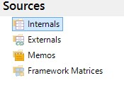 You can change the view to Internals, Externals, Memos or Framework Matrices