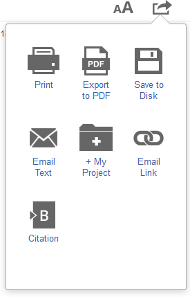 OVID Book Reader Tools menu
