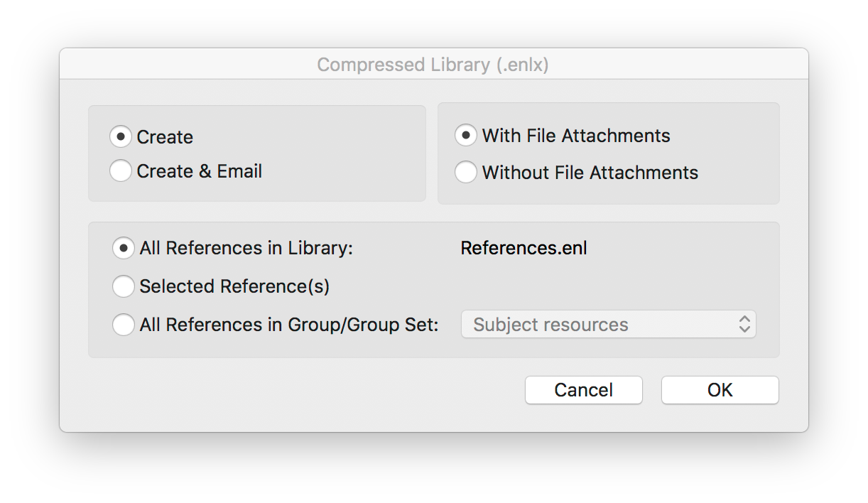 Compressed library options for creating a compressed backup file, with or without file attachments