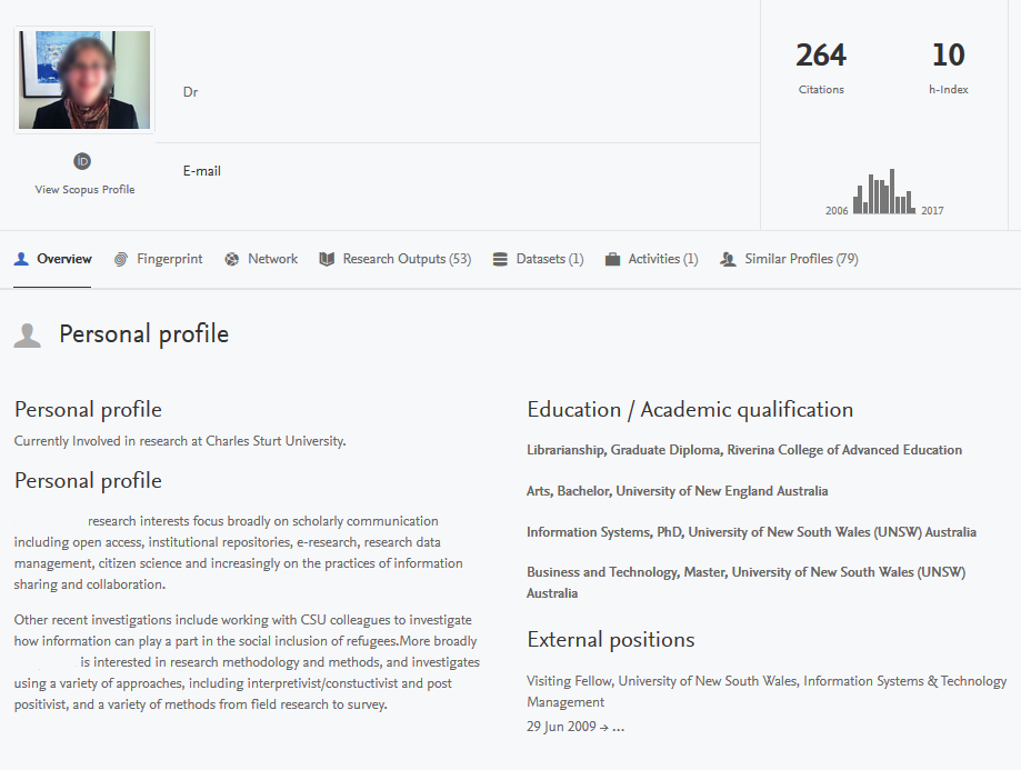 The CRO Researcher Profile dashboard allows you to upload a photo, add a bio, and list your qualifications and the positions you've held. It also displays your citations and h-index.