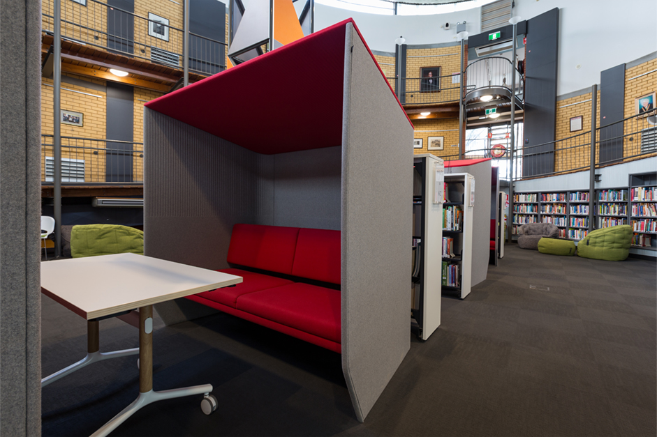 New red and grey study booths at Dubbo campus