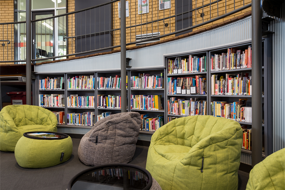 Comfortable bean bag chairs in the Library collection at Dubbo campus
