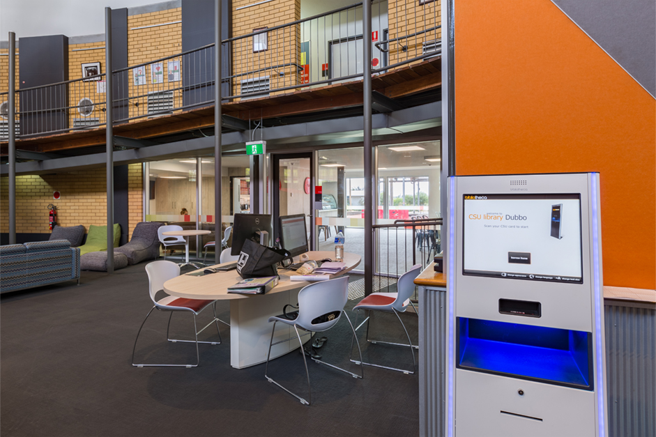Self-check kiosk and study space at Dubbo campus