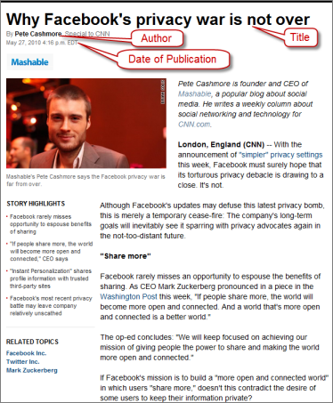 Screenshot of website with publication information, click to see full size